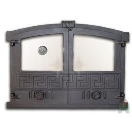 Дверца каминная/печная двустворчатая со стеклом термометром и шиберами ГРЕЦИЯ 4 - H2004