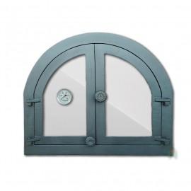 Дверца каминная/печная двустворчатая со стеклом и термометром ПАНАМА 4 - H3904 HUBOS