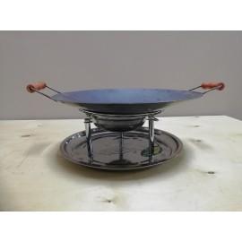 Садж из нержавеющей стали с подставкой кованой Ø450мм