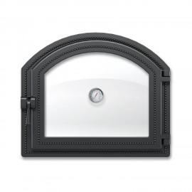 Дверка каминная 217 с термометром антрацит 410х350мм