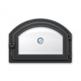 Дверка каминная 222 с термометром антрацит 410х280мм