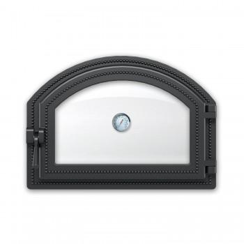 Дверка каминная 222 с термометром антрацит 410х280мм, Везувий