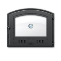 Дверка каминная 224 с термометром антрацит 410х350мм