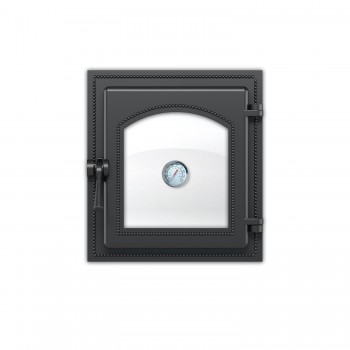 Дверка каминная 270 с термометром антрацит 280х250мм, Везувий