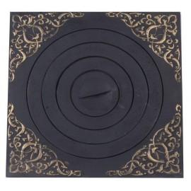 Плита печная под казан с рисунком с патиной ПК07 520х520мм